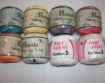 Royale Crochet Thread*Aunt Lydia Thread*Cotton*Crochet Size 3*150 Yards*Sale*Clearance*Destash*Teal*Plum*White*Rose*Plum*Maize*Natural*