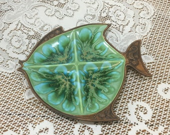 Treasure Craft Fish Dish ~ Mid Century Chip and Dip ~ Turquoise and Green with Brown Trim ~ Hawaiian Décor ~ Beach ~ Mid Century Kitchen