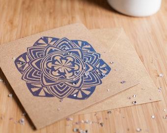 Zendala / Mandala Handprinted Linocut Card