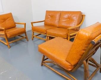 Vintage Low Profile Bamboo Sofa Set Mid Century Modern Sectional Naugahyde  Vinyl Cushions Living Patio Sun