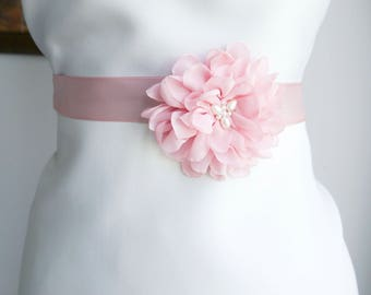 Blush Pink Flower Bridal Sash, Wedding Sash, Bridal Gown Sash, Blush Pink Belt, Chiffon Flower, Wedding Dress Sash, Formal Dress Sash
