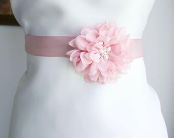 Blush Pink Flower Bridal Sash, Wedding Sash, Bridal Gown Sash, Blush Pink Belt, Chiffon Flower, Wedding Dress Sash, Formal Dress Sash