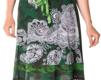 Beautiful Desigual Deliney Knee Length 60cm Green Skirt Size L