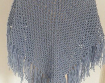 Blue shawl with fringe for cool evenings