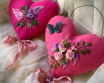 Sachet , lavender sachet, hand embroidered sachet, embroidered roses,romantic sachet