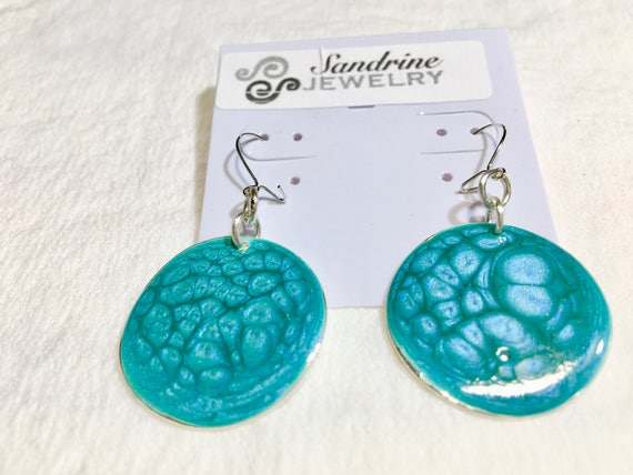 Handmade round blue turquoise enamel earrings with abstract designs