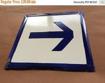 SALE Vintage Antique Enamel Sign Porcelain - Blue Arrow This Way 1970's