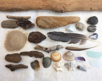 Beach finds collection, Baltic sea stones, driftwood, sand, glass, shells for nature lessons, art, crafts, decors