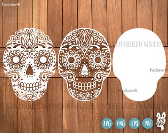Sugar Skull SVG cut file halloween  | Decorative beautiful skull | Papercut Template | Day of the Dead | spooky | Cricut, Cameo | Home Decor