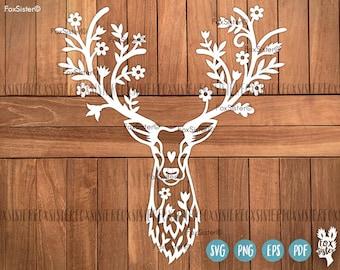 Deer SVG / PDF Papercut Template | Deer head | deer antlers | Commercial and personal use | Animal | Paper Cut file | reindeer | for Cricut