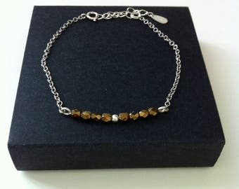 Bracelet Bar Bronze Gemstone faceted. Made entirely of Sterling Silver 925.