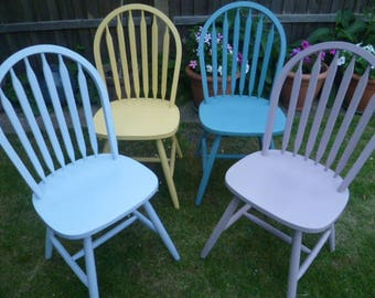 4 x Shabby Chic Chairs up-cycled in pastel colours chalk paint *COLLECTION ONLY*