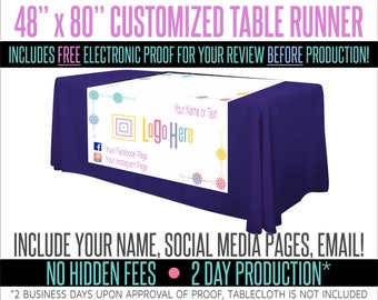 "Full Color Table Runner with Your Logo in a Flower Styled Border- 48"" x 80"""