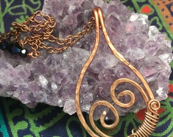 Copper wire wrapped heart pendant necklace