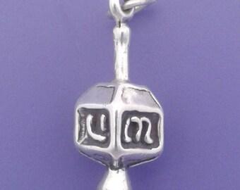 DREIDEL Charm .925 Sterling Silver, JEWISH Toy, Chanukah, Hannukah Pendant - lp4076