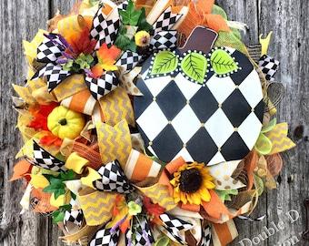 Fall Pumpkin Wreath, Harlequin Decor, Autumn Pumpkin Deco Mesh Wreath, Fall Decor, Autumn Decor, Fall Door Wreath, Pumpkin Deco Mesh Wreath