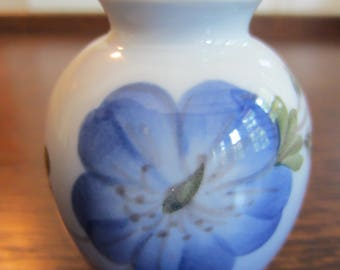 Vintage Royal Copenhagen Small Porcelain Bud Vase/Denmark Vase/ Blue Flowered Vase/ Antique Bud Vase/ Blue Vase/ Collectible/