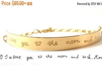 ON SALE Handwriting Bracelet Half cuff bracelet Actual Handwritten Jewelry Signature Personalized engraved bracelet Memorial loved one's wri