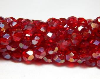 6mm Red Celsean Beads, Red Firepolish Czech Beads, Red Beads, Red Glass Beads, Red Crystal Glass Beads Crystal Beads, Faceted Beads T-41C