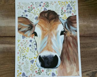 Cow with floral background - PRINT of original art - farmhouse decor- cow painting