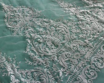 Embroidery Lace fabric in off white,lace sell by yard ,wedding lace ,grass and flower embroidery lace