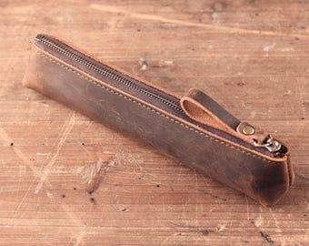 Leather Snap Pen Pouch , Pen Case, Pen Holder, Pencil Case, Leather Pen Case ,vintage leather stationery bagA014