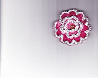 Silver/pink crocheted flower