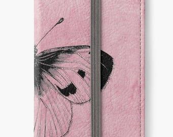 Folio Wallet Case for iPhone 8 Plus, iPhone 8, iPhone 7, iPhone 6 Plus, iPhone SE, iPhone 6, iPhone 5s -  Vintage Butterfly Design
