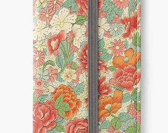 Folio Wallet Case for iPhone 8 Plus, iPhone 8, iPhone 7, iPhone 6 Plus, iPhone SE, iPhone 6, iPhone 5s - Vintage Chinese Floral Pattern