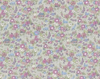 Lecien Memoire A Paris LAWN - Fat Quarter in Purple/Grey