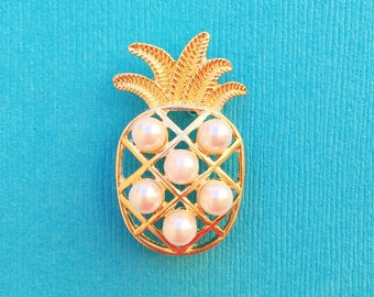 "Fun in the Sun Collection ""Pearly Pineapple"" Gold and Pearl Pineapple Enamel Pin Tie Tack Lapel"