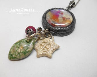 It's Christmas Time Again polymer clay pendant necklace jewelry charm