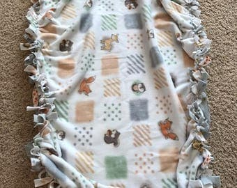 Animal Print Fleece Baby blanket with ruffled edge for baby or toddler