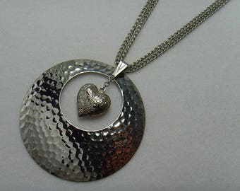 Silver Heart Hammered Disc Pendant, Stainless Steel Shield Necklace, Hammering, Puffed Heart, Metal Circle Pendant