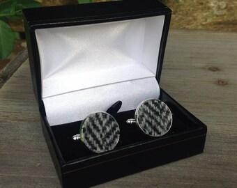 Harris tweed black and grey herringbone cufflinks wedding groom Father's Day birthday gift
