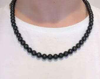 Certified Black Jadeite beads Necklace 21 inch Natural A jadeite