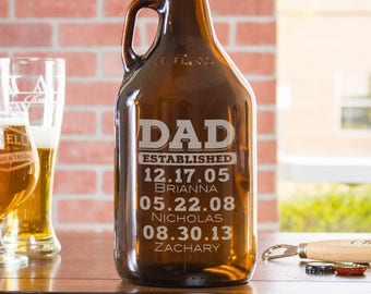 Father's Day Growler, engraved growler, dad established, beer lover gift, gift from son, personalized, craft beer, gift for dad