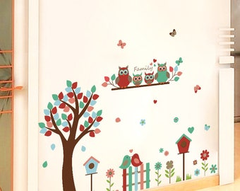 Birds, Tree, Branch, Fence Wall Sticker - AW9162