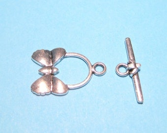 50% OFF Clearance Sale-- Antique Silver Toggle Clasp 23mm Butterfly Toggle Clasp
