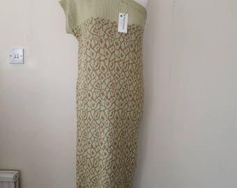 Vintage knitted dress off one shoulder Size Medium 12-14