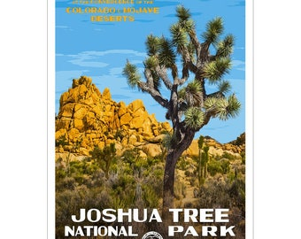 """Joshua Tree National Park  WPA-style poster. Color. 13"""" x 19""""  Original artwork, signed by the artist!"""