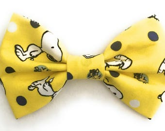 Yellow Bow Tie, Snoopy Bowtie, Men's Novelty Bow Tie, Mens Bowties, Peanuts Bow Ties, Yellow Bow Tie, Boys Bowtie, Self Tie Bow Tie,