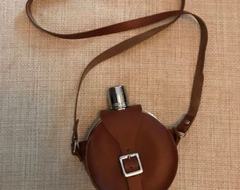 Vintage Leather Drinking Flask Mid Century Flask Barware Personal Flask Gift Him Gift Her Leather Bag