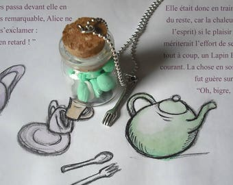 vial bottle macarons Mint turquoise fimo necklace gourmand