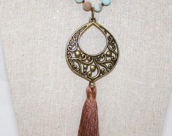 Tassle Necklace, Amazonite Beads, Long Necklace, Brass Pendant Necklace