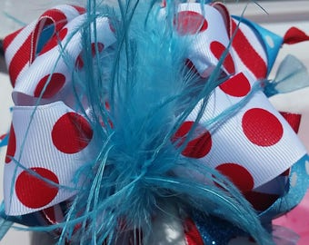 Red and teal over the top hair bow 6 inch