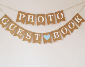 Guest book bunting, photo album guest book wedding decorations, travel themed wedding