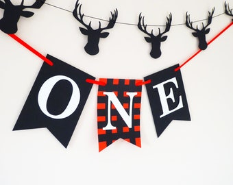 Wild one birthday banner woodland decor, Lumberjack plaid, Baby's 1st cake smash photo props