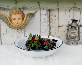 Large Enamel Bowl / Enamel Bowl / Enamelware Bowl / French Bowl / Vintage / Vintage Enamel Bowl / Vintage Enamelware / French Laundry bowl