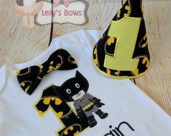 Batman birthday shirt, Batman 1St birthday set, 1st birthday Batman shirt, embroidered Batman shirt, Batman party set, Batman Personalized
